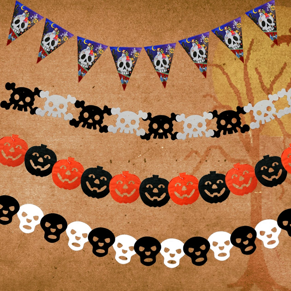 Halloween supplies decorative props horror halloween pumpkin skull garland pennant string flag bar scene layout