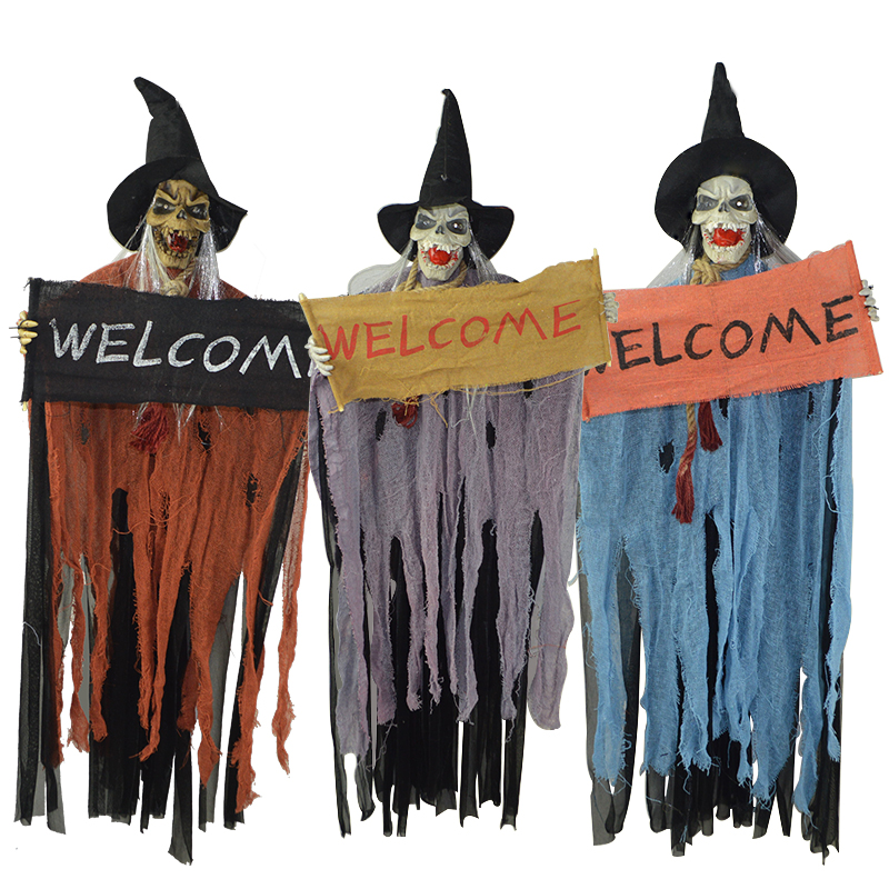 Halloween witch ghost haunted house bar ktv decorative hanging ghost voice luminous guijiao kryptograf portieres ghost hangman