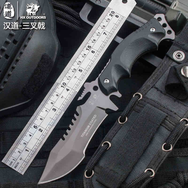 Han tao trident outdoor knives outdoor survival knife straight knife high hardness defensive tactical knife buy one get five