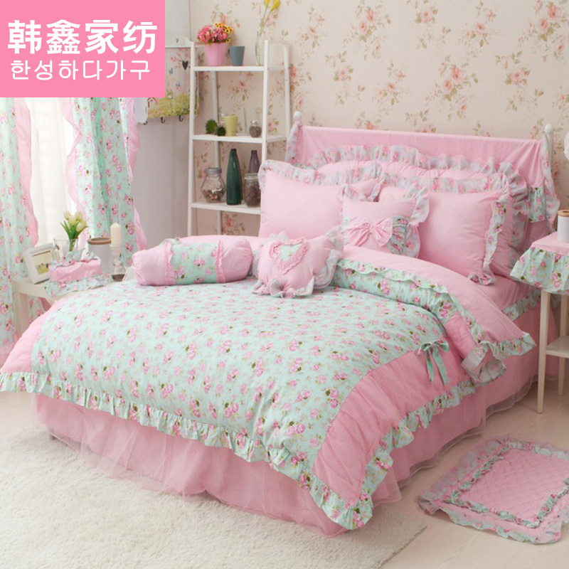 Han xin korean version of the pastoral cotton denim cotton bedding princess style sheets quilt twin 1.8 m bed