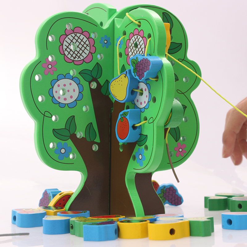 Han yu children wearing beads around the bead beaded animal fruit beaded wooden puzzle fight inserted toys wisdom tree tuba