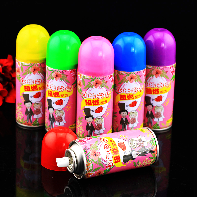 Hand spray striped ribbon wedding supplies wedding celebration festive birthday christmas wedding color spray snow spray cans