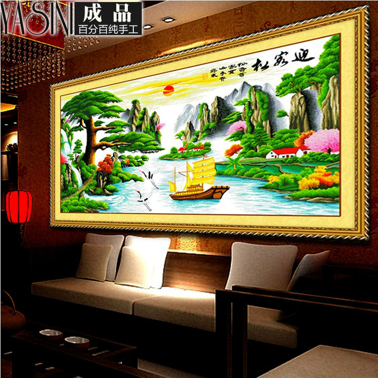 Handmade embroidery stitch finished living room series draw substantial new landscape yingkesong fortunes version
