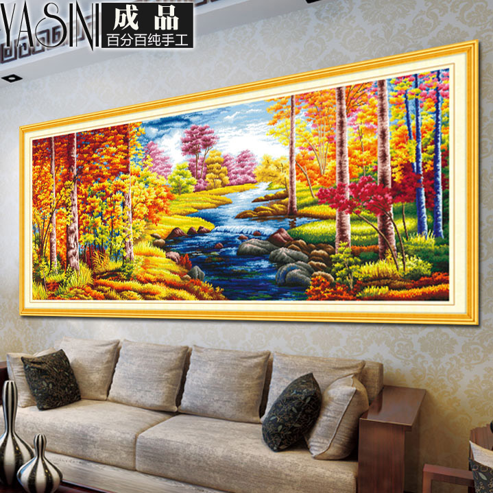 Handmade embroidery stitch finished sharply landscape painting the living room goldenå¯æ¯ii m 2 miou style painting