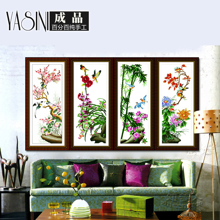 Handmade embroidery stitch substantial new living room series finished drawing bamboo and chrysanthemum merlin niaoyuhuaxiang sale