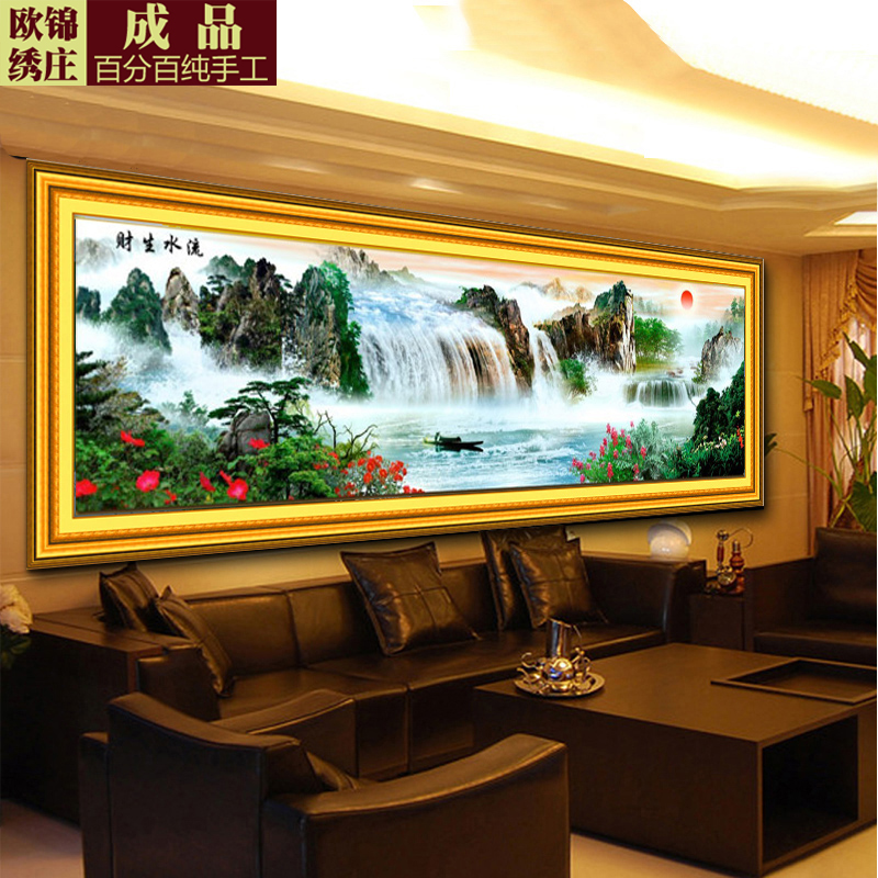 Handmade finished cross stitch substantial new living room 2.5 rising sun making money flowing landscape