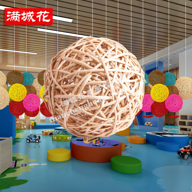 Handmade rattan goods heart rattan sepak takraw ball ornaments decorated nursery school shopping corridor bar