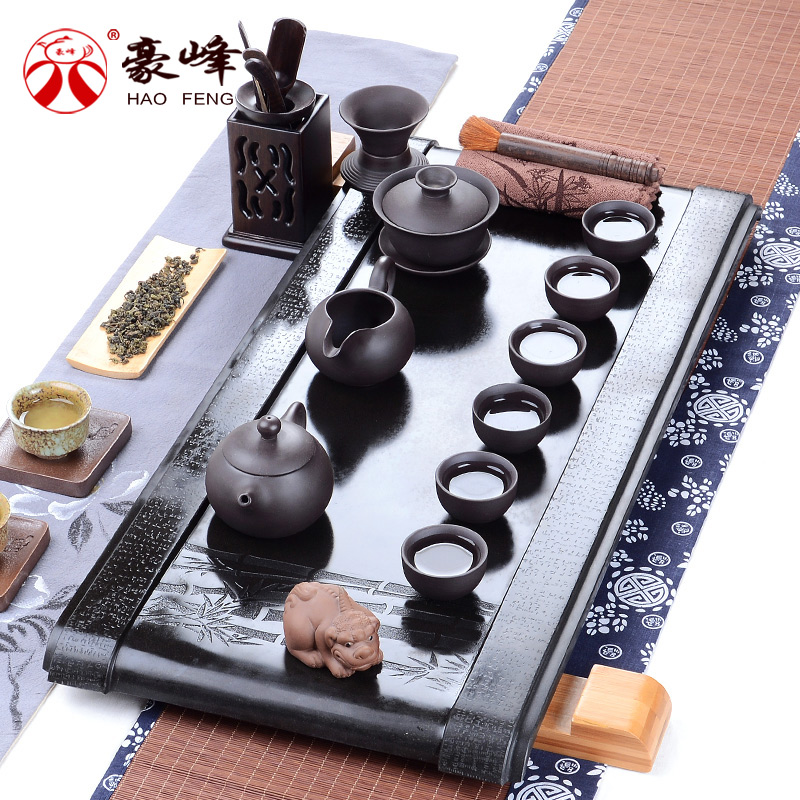 Hao feng black stone tea tray tea sea suit entire kung fu tea black stone stone stone tea sea