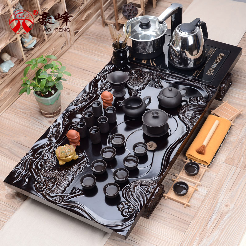 Hao feng entire ceramic kung fu ru four cooker yixing tea binglie entire wood tea tray