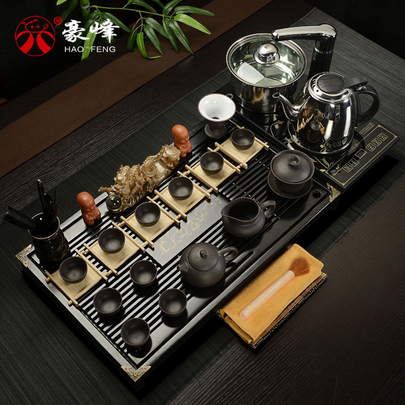 Hao feng entire wood tea tray tea tray yixing tea set tea binglie ru glaze four furnaces