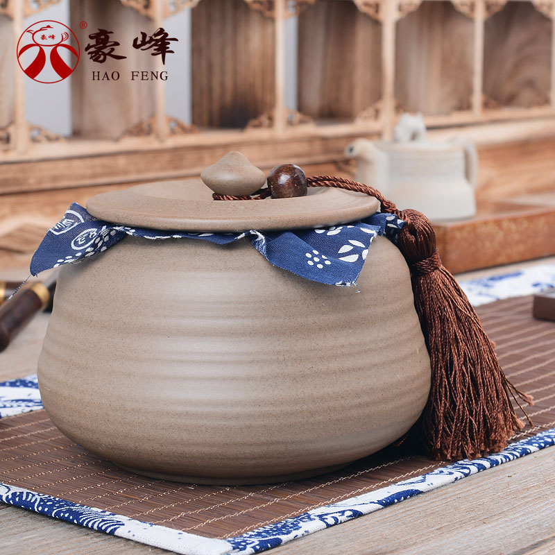 Hao feng ru ceramic tea caddy sealed earthenware stoneware pu'er tea caddy storage boxes of food cans candy jar sealed cans chaguan
