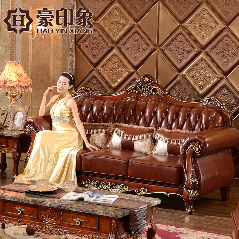 Hao impression 123 european leather sofa combination of american classical carved wood living room first layer of imported leather