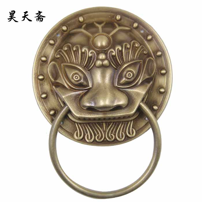 Haotian vegetarian genuine new chinese ming and qing antique full copper handle copper door to bow accessories brass knocker shoutou