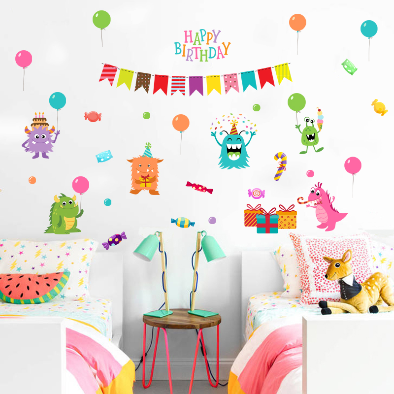 Happy little monster cartoon cute children's room bedroom wall stickers kindergarten classroom early childhood adhesive wall sticker