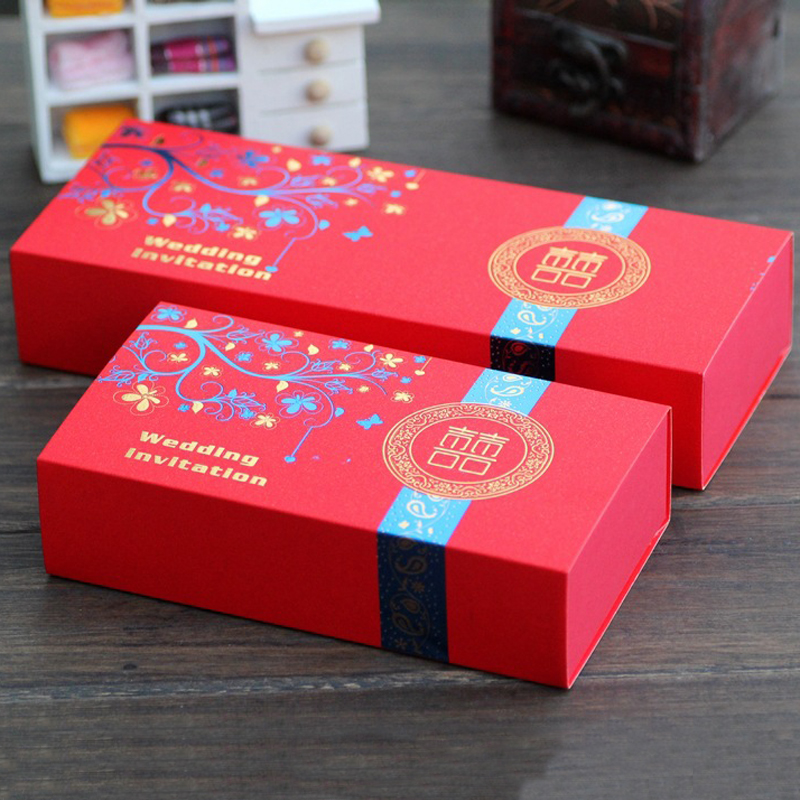 Happy tree red creative wedding candy box rectangular pull candy gift box wedding ceremony wedding supplies