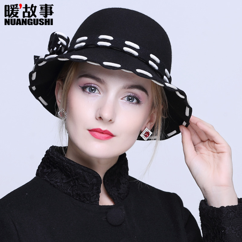 Hat female autumn and winter bow warm while still wild wool fedora hat dome fisherman hat bucket hats hat tide of england