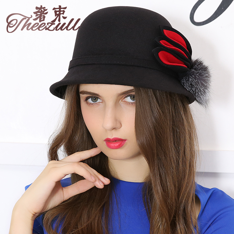 Hat female autumn and winter woolen hat jazz hat british fashion wild european and american fashion beret hat female spring and autumn