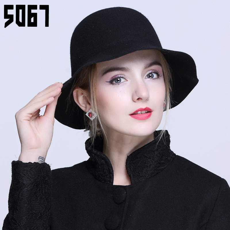 Hat female leisure wild outing warm autumn and winter wool fedora hat bucket hats dome cap hat retro elegant fish cardiff