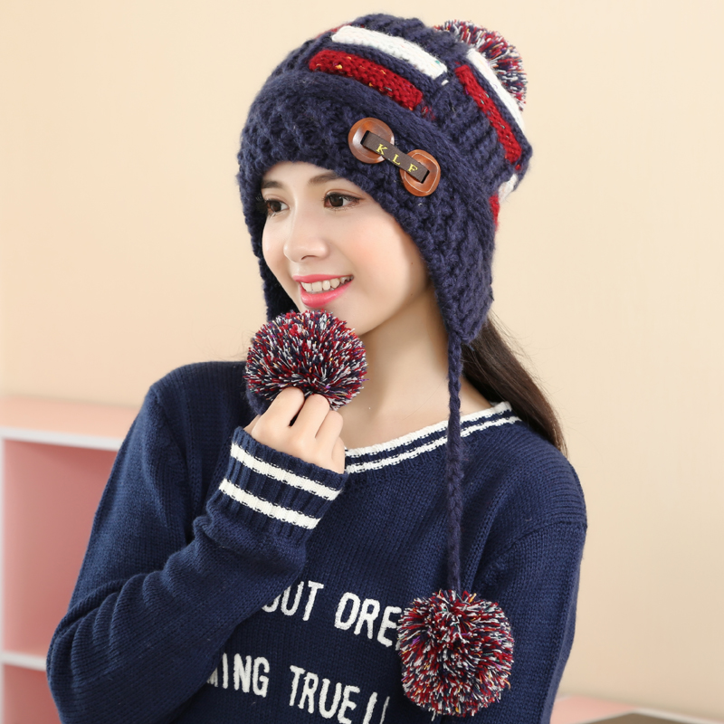 cb6e1cb010d Get Quotations · Hat female winter wool hat knitted hat sphere cute  students plus thick velvet warm ski cap
