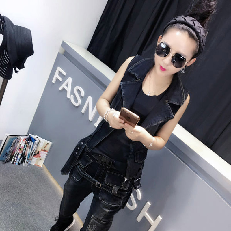 He according to xuan 2016 autumn new denim vest female piece suit korean version of casual fashion jeans cattle