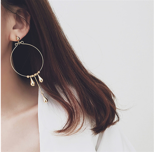 Headland 925 silver earrings korean wild temperament smart ring exaggerated metal droplets tassel earrings without pierced ears