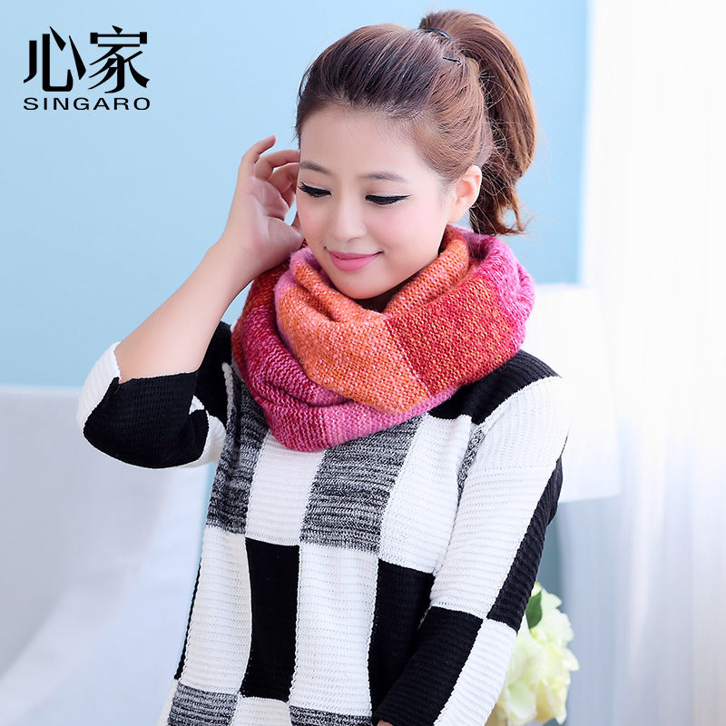 Heart home autumn korean version spell color wool scarf female spring and winter korean wild thick scarf weijin