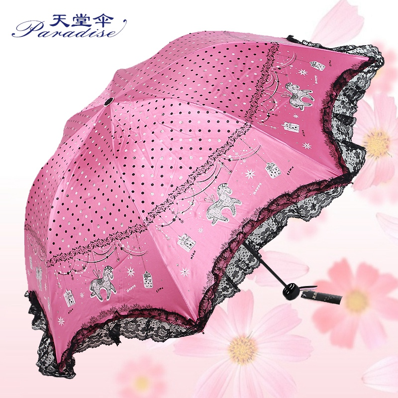 Heaven umbrella 33154E joy princess folding ladies powder pretty plastic creative cover parasol mushroom umbrella