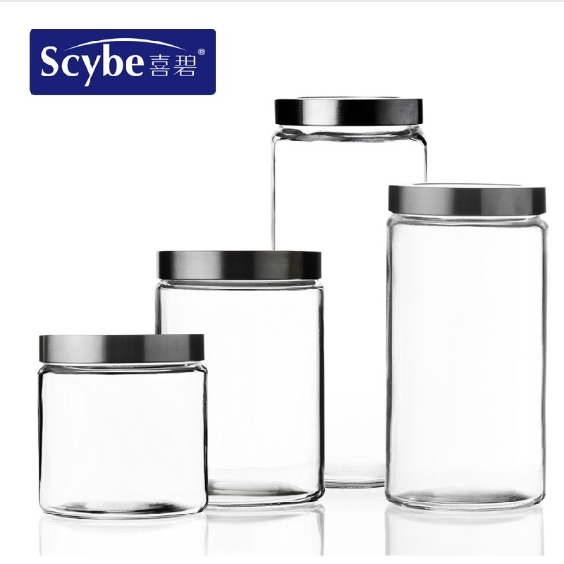 Hebe glass storage jar sealed cans glass canisters canister milk cans bottles grains kitchen canister storage box