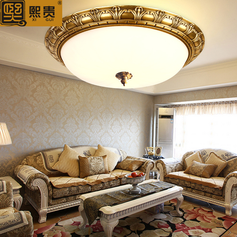 Hee expensive modern chinese ceiling lamp american retro small living room dining room entrance continental balcony full of copper imitation marble lamps