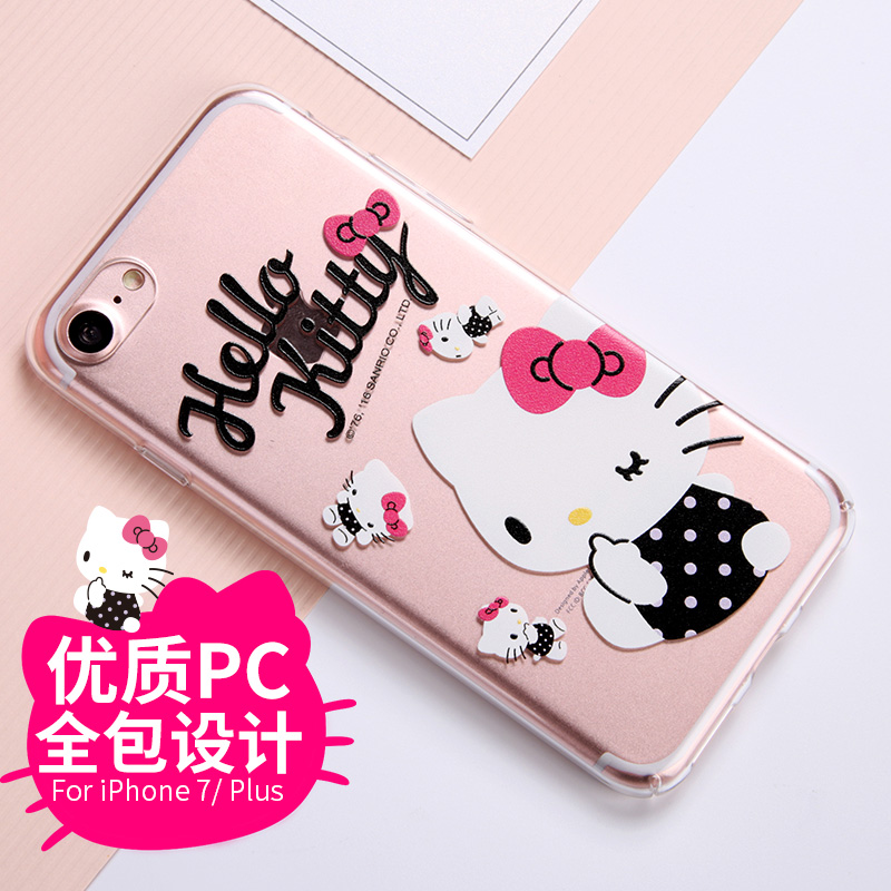 Hello kitty apple 7 transparent shell phone iPhone7plus whole package protective shell cartoon hard shell influx of women
