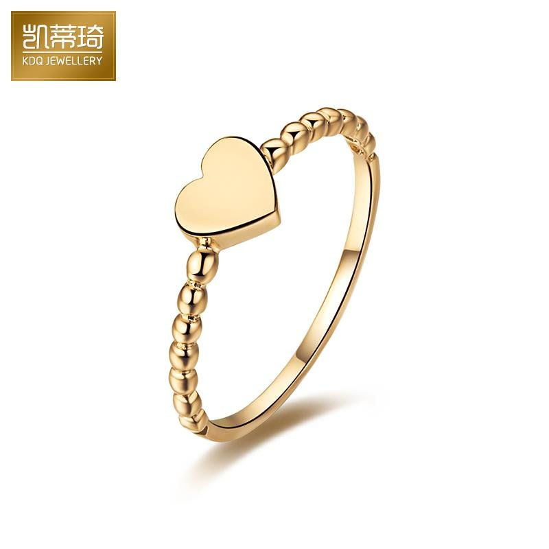 Hello kitty kay jewelry k gold heart ring korean version of the platinum rose gold color gold gold rings female models au750