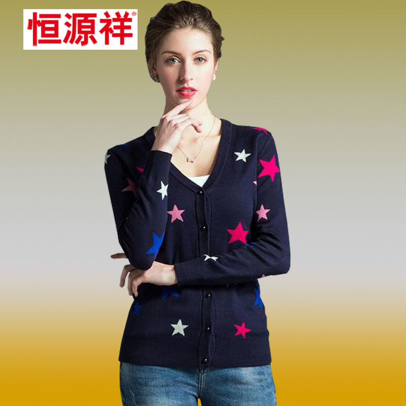 Heng yuan xiang 2016 spring and summer thin section star printing casual long sleeve v-neck t-shirt bottoming shirt hedging women's sweaters