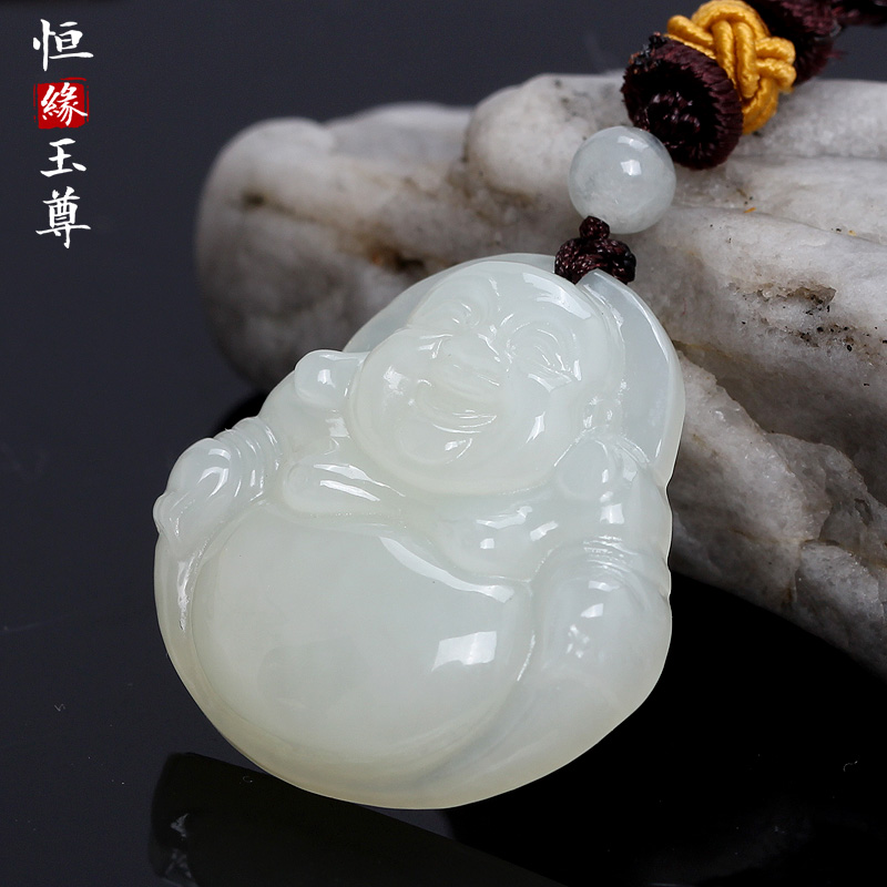 Hengyuan jade statue of hotan jade buddha pendant jade buddha jade necklace jade pendant brand pendant male and female models
