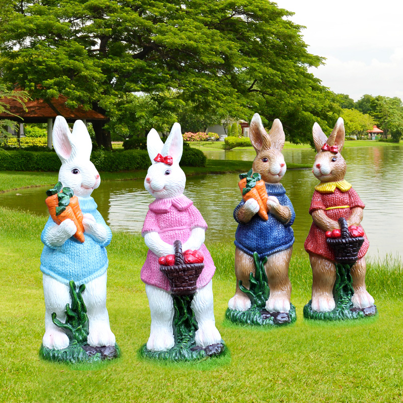 Heritage of gold rabbit resin garden ornaments outdoor garden and landscape sculpture art decorations furnishings workers