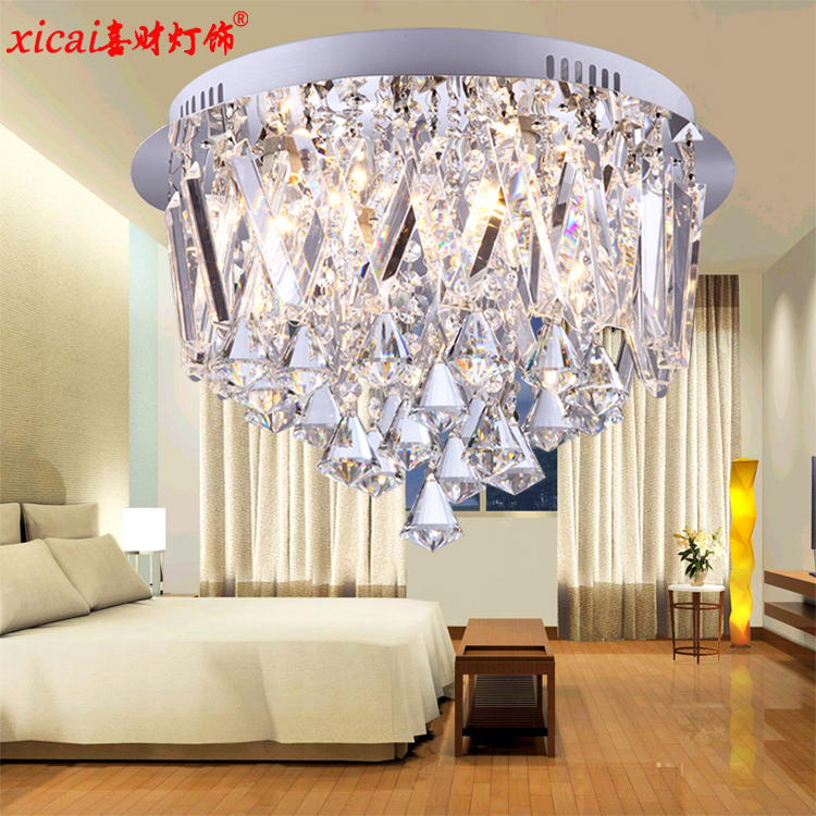 Hi choi bedroom ceiling lamp modern minimalist stainless steel led crystal lamp aisle lighting fixtures ceiling with lights