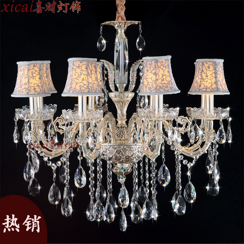 Hi choi european crystal chandelier candle lamp living room bedroom neoclassical dining hall lamp with shade imperious princess series