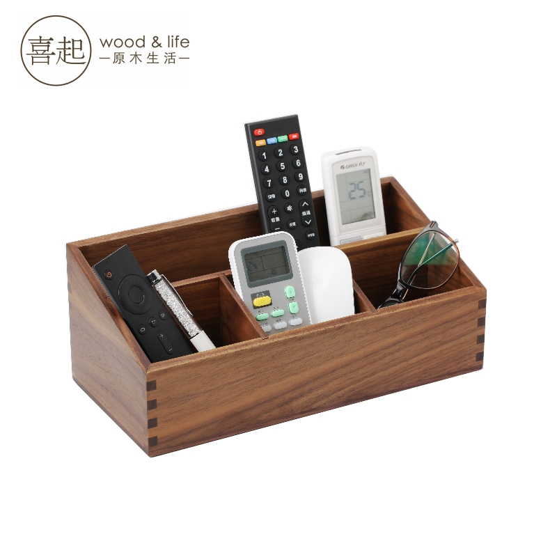 Hi hi play walnut wood wooden storage box cosmetic storage box wood storage box remote control desktop debris sorting box