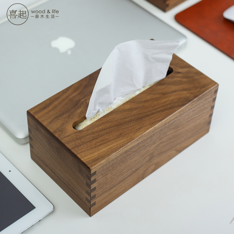 Hi hi play walnut wood wooden tissue box pumping tray creative minimalist living room wooden storage box customized