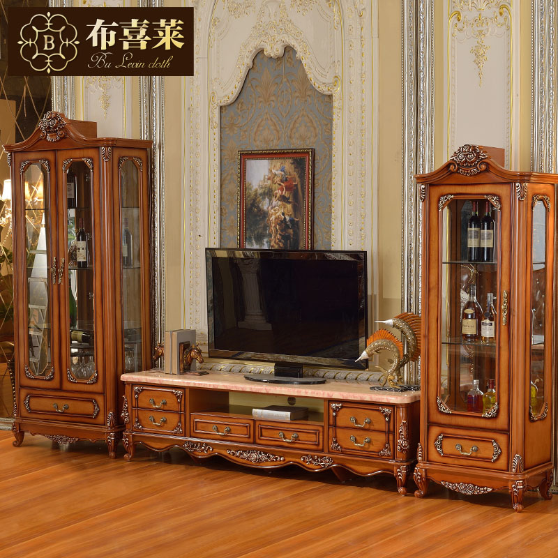 Hi levin cloth furniture continental carved wood armchair american country single door double door wine cooler combination