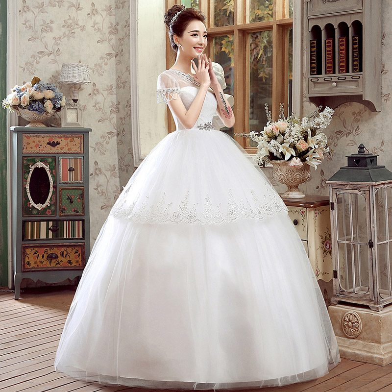 Hi square 2016 new summer korean version of the bride wedding dress wedding dress big yards qi word shoulder wedding dress