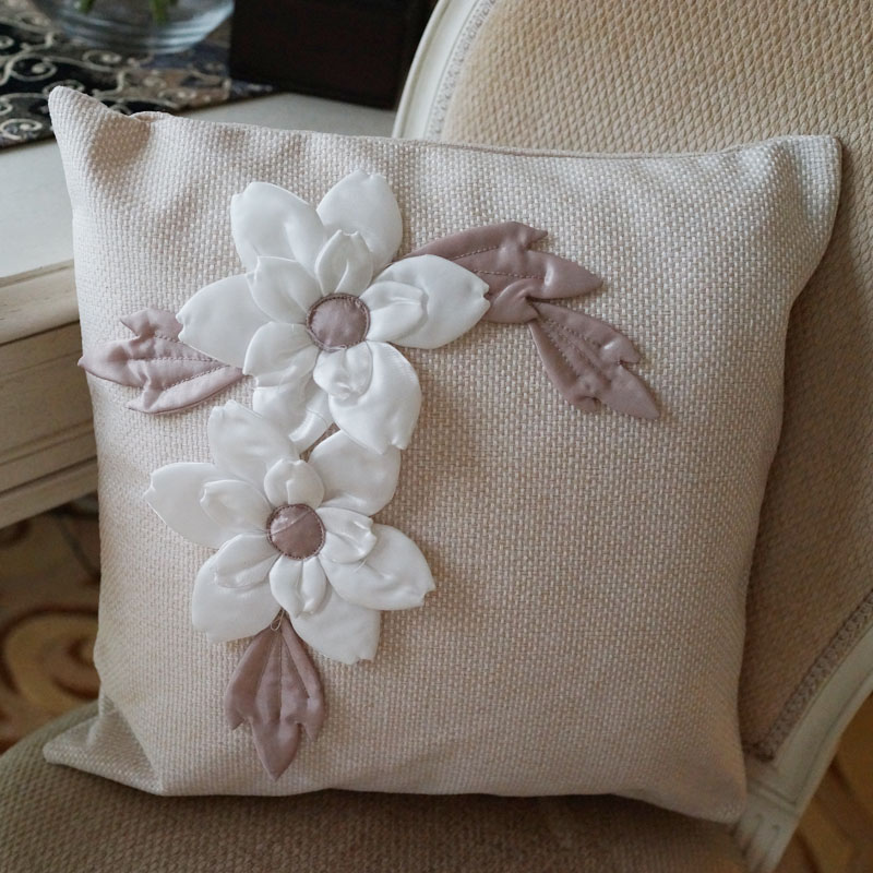 Hibiscus flower decoration lmdec simple fresh theatrical cotton pillow cover sofa cushion pillow cover without the core