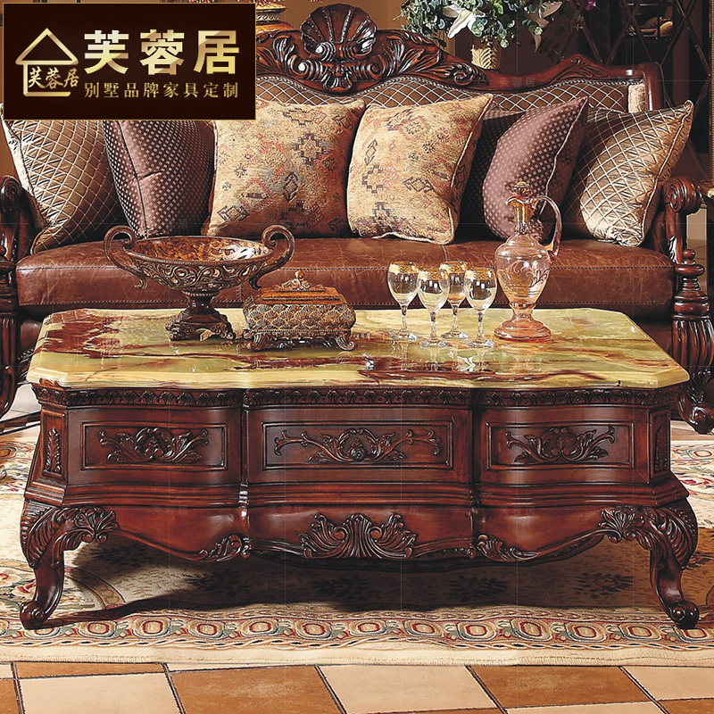 Hibiscus ranking american european solid wood coffee table with drawer storage coffee table carved living room table retro square table