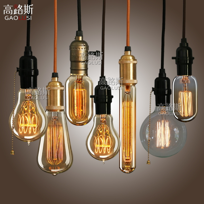 High loos edison light bulb e27 lamp copper chandelier lamp chandelier creative cafe bar single head