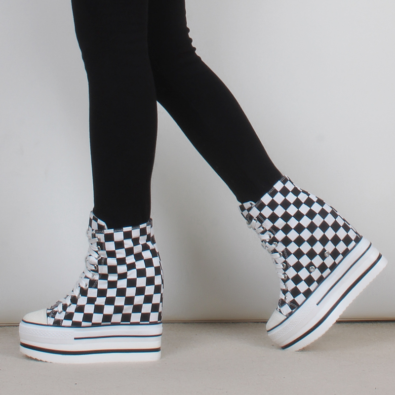 High puffy amiyumi authentic high shoes lace shoes muffin thick crust within the higher shoes when shang in black and white plaid canvas shoes