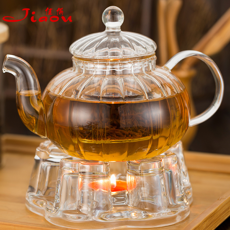 High temperature resistant glass teapot shipping pumpkin flower pot teapot transparent glass tea pot teapot set