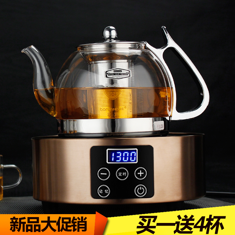 High temperature resistant glass teapot thick stainless steel filter teapot electric ceramic stove glass kettle tea making facilities Black tea black tea