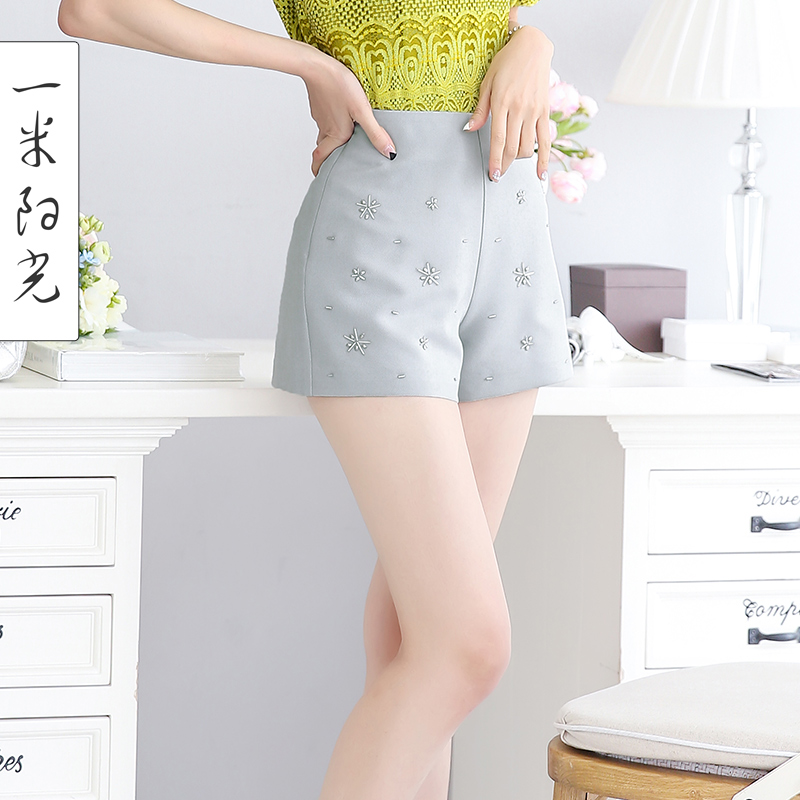 High waist wide leg shorts female summer 2016 summer new korean version of casual pants hot pants wild significantly thin outer wear pants female