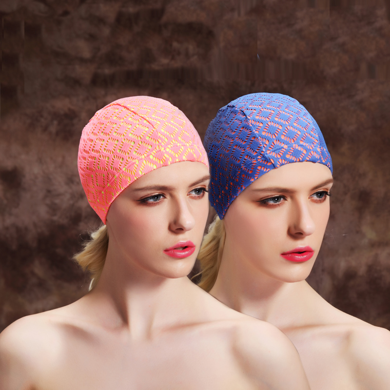 Highland otis hollow printing hit color cloth swimming cap swimming cap swimming cap swimming cap female hair short hair fashion wild comfortable queen