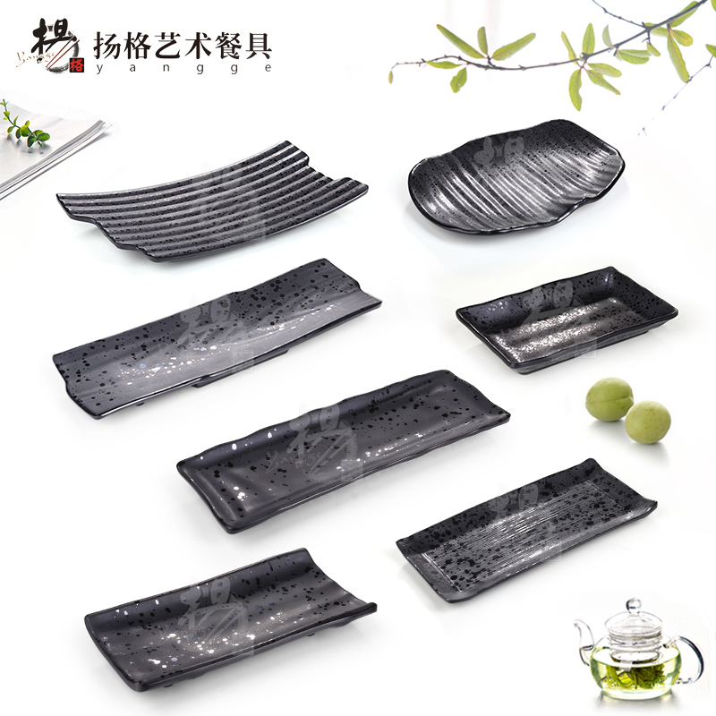 Highlights of the new matte frosted rectangular plate japanese sushi plate inventory center plate restaurant dish dish dish melamine melamine tableware
