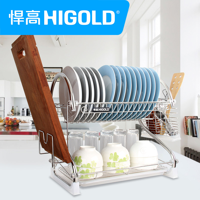Higld/defended by high genuine stainless steel double kitchen shelf drain rack dish rack kitchen rack angle bracket shipping